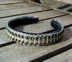 Pop tab headband laced with green & gold by JadestormCreations  http://www.etsy.com/shop/JadestormCreations