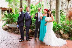 Outrigger Fiji Beach Resort Tuxedo Dress Bride Groom Bridesmaid Groomsmen Dress Veil Nature Outdoor Garden Palms Flowers Photography Reception Green Inspiration Ideas Wedding Planning