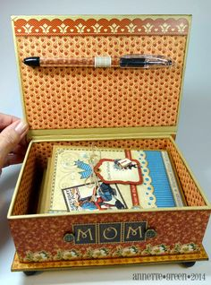 Stationery box (inside) for Mom using Graphic 45's Place In Time and large matchbook box, by Annette Green.