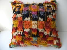 "TULU PİLLOW COVER,20""x20"" inch Decorative Handmade Turkish Tulu Kilim Rug Pillow Cover,Long Pile Wool Pillow,Filikli Kilim Rug Pillow."