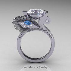 High Fashion Nature Inspired 14K White Gold 3.0 Ct White Sapphire Blue Topaz Diamond Marquise Eye Engagement Ring R359S-14KWGDBTWS