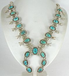 Authentic Native American Turquoise Nugget Squash Blossom Necklace