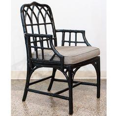 Vintage MCGUIRE Black Rattan Chair with Grey Cushion