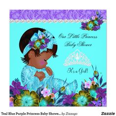 Teal Blue Purple Princess Baby Shower Girl B1