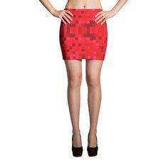 Red Pixel Mini Skirt