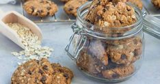 Flourless gluten free peanut butter, oatmeal and chocolate chips cookies in glass jar and on table, horizontal Stock Photo , Coconut Chocolate Chip Cookies, Chocolate Chip Oatmeal, Chocolate Peanut Butter, Chocolate Chips, Peanut Butter Cookie Recipe, Cookie Recipes, Oats Snacks, Organic Peanut Butter, Almond Butter