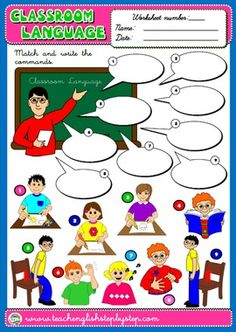 #CLASSROOM LANGUAGE WORKSHEET 1 (AVAILABLE IN BLACK & WHITE)