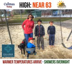CULLMAN COUNTY WEATHER Friday March 17 2017  WARMER TEMPERATURES ARRIVE - SHOWERS OVERNIGHT - High 63°  TODAY: Cullman County weather turns more seasonal with partly sunny skies and a high temperature near 63°. South wind 5 to 10 mph.  TONIGHT: 50% chance of rain showers & random thunderstorms overnight. Skies will become mostly cloudy with a much warmer low than recent days in the mid-50's. South-southwest wind 5 to 10 mph.