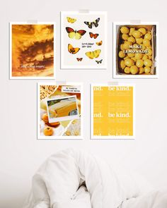 Mellow yellow art print pack with 5 original art prints for a yellow aesthetic Bedroom Prints Wall, Mental Health America, Cute Bedroom Decor, Large Art Prints, Good Things Take Time, Works With Alexa, Human Art, Photo Wall Collage, Yellow Print