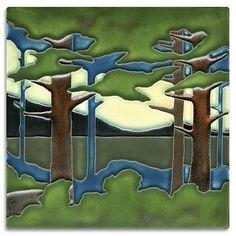 8x8 Pine Landscape - Valley from Motawi Tileworks $110