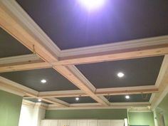 Ceiling painted a darker color. Country Chic Kitchen, Ceiling Painting, Ft Island, Coffer, Reclaimed Barn Wood, Wood Accents, Crown Molding, Dark Colors, Ceilings