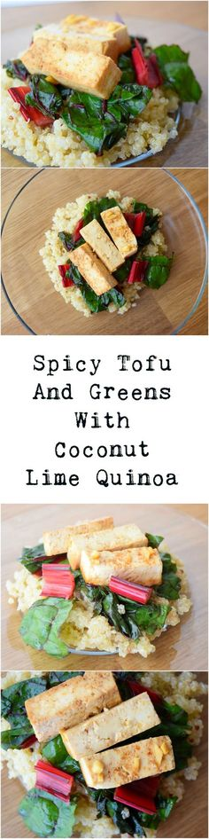 Creamy coconut quinoa topped with tangy and spicy tofu and greens. Vegan and gluten free!