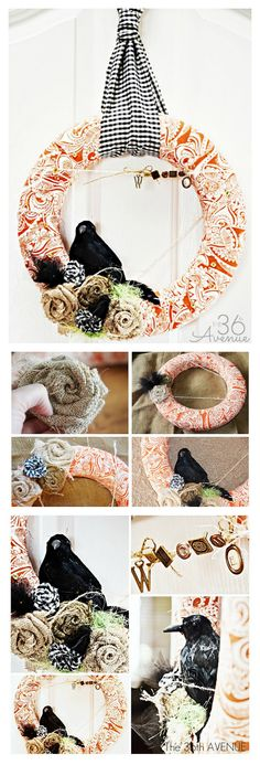 DIY Fabric Wreath. Easy step by step tutorial at the36thavenue.com #Halloween