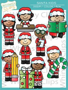 The Santa Kids clip art set contains 16 image files, which includes 8 color images and 8 black & white images in png and jpg. All images are 300dpi for better scaling and printing.