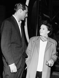 Cary Grant visiting Judy Garland on the set of Summer Stock, 1950