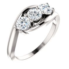 14kt White 1 CTW Diamond Anniversary Ring