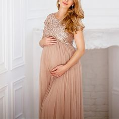 a7b0744421ae5 Maternity Maxi Tulle Dress With Tonal Delicate Sequins