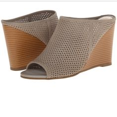✂️FLASH SALE✂️ Kenneth Cole Reaction Mules Host Pick! Trendy tan mule wedges by Kenneth Cole Reaction. Leather upper. Worn twice, light wear on bottom of shoe and inside the upper shoe. Wear shown in pictures above, priced accordingly. Offers welcome! Kenneth Cole Reaction Shoes Mules & Clogs