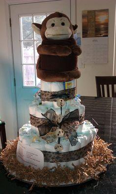 Safari with Monkey diaper cake