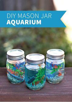 Mason Jar Aquarium Cute and Easy DIY Craft Projects for Kids by diy craft projects for kids - Kids Crafts Summer Crafts For Kids, Craft Projects For Kids, Diy For Kids, Summer Diy, Diy Crafts With Kids, Project Ideas, Arts And Crafts For Kids Toddlers, Little Girl Crafts, Kids Food Crafts