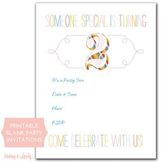 Free Printable Rainbow Birthday Party Invitations...@Emma Wesley-Taotua this one is cute and is legit...she has one for 1 too.