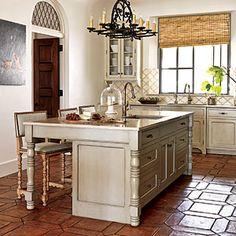 farmhouse tile flooring | kitchen terra cotta tiles design ideas
