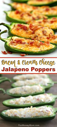 Baked Jalapeno Poppers With Cream Cheese, Cheddar & Bacon Baked Jalapeno Poppers – This appetizer recipe will be the hit of any party! It really doesn't get much better than jalapeno peppers with cream cheese and bacon. It's the perfect party food! Cream Cheese Jalapeno Poppers, Jalapeno Popper Recipes, Cream Cheese Stuffed Jalapenos, Stuffed Jalapeno Peppers, Stuffed Jalapeno Recipe, Baked Stuffed Jalapenos, Cheddar Cheese, Grilled Jalapeno Poppers, Cheese Dips