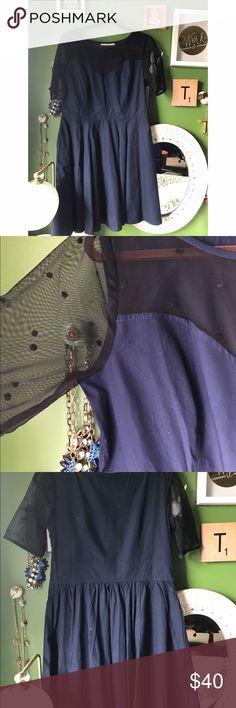 Navy Sheet Sweatheart Neckline Dress Custom size from Eshakti but fits like a 10.  Sheet sweetheart neckline with 3/4 sleeves.  Has pockets!  Waist is 15.5 inches lying flat.  17 inches pit to pit.  22.5 inches waist to hem. eshakti Dresses