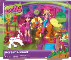 This horsing around play set includes 2 polly pocket dolls, 2 horses,a fence with accsesories. Barbie Doll Set, Barbie Party, Retro Toys, Vintage Toys, Girls Rolling Backpack, Polly Pocket World, Kids Living Rooms, Barbie Kelly, Alice