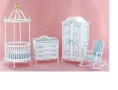 Dollhouse Miniature nursery baby room crib furniture set hand painted