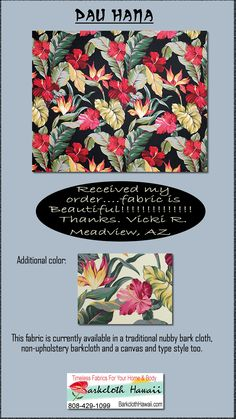 Tropical Hawaiian Bird of Paradise and Hibiscus flower fabric - cotton bark cloth fabric, Hawaiian vintage style fabric.