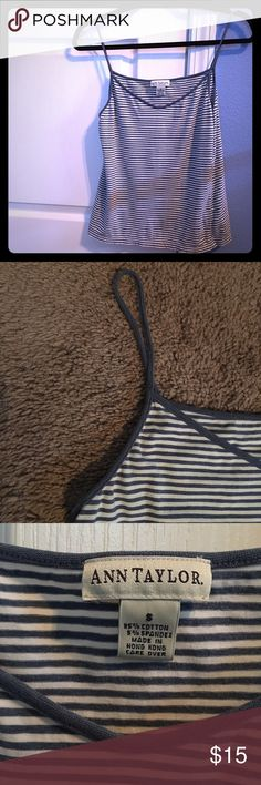 Cute and Comfy Spaghetti Strap Tank In good condition, no imperfections and is soft n comfy. Navy blue and white spaghetti strap tank top looks cute under a sweater. Ann Taylor Tops Tank Tops