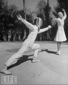 Fencing Class at Coeducational Rollins College, 1940