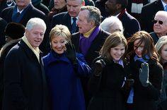 Former President Bill Clinton, Secretary of State–designate Hillary Clinton, Jenna Bush Hager and Barbara Bush arrive at the Inauguration