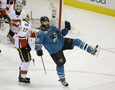 San Jose Sharks forward Brent Burns celebrates his first period goal (Oct. 19, 2013).