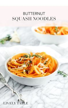 Easy butternut squash noodles are a delicious low-carb pasta replacement and a great way to enjoy butternut squash! Pasta Dinner Recipes, Easy Pasta Recipes, Whole Food Recipes, Cooking Recipes, Yummy Vegetable Recipes, Vegetarian Recipes, Healthy Recipes, Vegetable Dishes, Diabetic Recipes