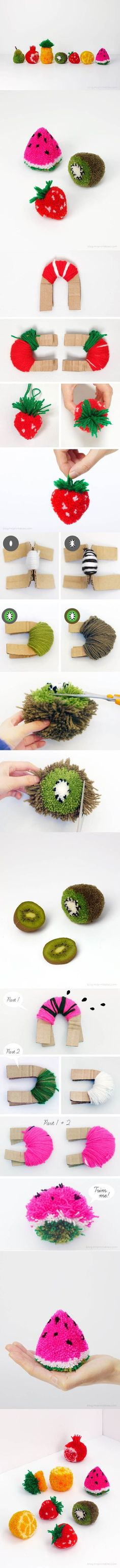DIY Fruit Pom Poms | iCreativeIdeas.com Like Us on Facebook == https://www.facebook.com/icreativeideas