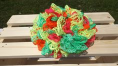 Knitted Sashay Scarf Bright Green Red Yellow by CroKnitsandThings, $20.00