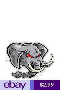 Statement Stickers & Decals Collectibles Elephant Face, Angry Face, Decals, Cartoon, Stickers, Ebay, Products, Tags, Sticker