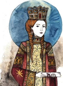 Empress Irene (752-803) was the 1st woman to be the sole ruler of the Byzantine Empire.  Born in Athens, Greece. She married in 769, became empress in 775 & in 760 served as regent for her young son after her husband's death. Known to be extremely ambitious & strong-willed, she restored icon veneration... When her son Constantine IV came of age, he seized power from her in 790 but eventually made her co-ruler in 797. Mom conspired against her own son, had him blinded, & took it all back.