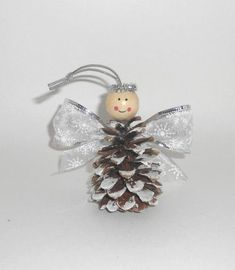 Christmas crafts for kids: Pinecone angel ornaments – DIY by Hanka Kids Crafts, Pinecone Crafts Kids, Pinecone Ornaments, Christmas Ornament Crafts, Christmas Crafts For Kids, Homemade Christmas, Holiday Crafts, Christmas Diy, Crochet Christmas