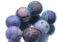 Moogin - lampwork bead set etched purple tones batik style SRA 21-23mm