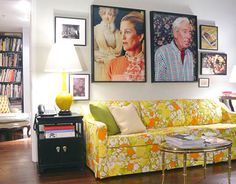 Granny Chic. Want that couch. Hate those photos!!! :)