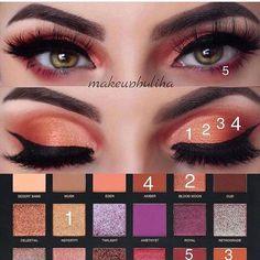 The Best makeup palette Huda beauty eyeshadow swatches Die beste Make-up-Palette Huda Beauty Lidschattenmuster Huda Beauty Eyeshadow, Huda Beauty Makeup, Beauty Make-up, Skin Makeup, Drugstore Eyeshadow, Beauty Hacks, Eye Makeup Steps, Makeup Eye Looks, Best Makeup Palettes