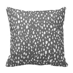 Charcoal Gray and White Abstract Scattered Dots Throw Pillow