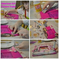 How to make American Girl Doll Picture Frame. Inexpensive idea for a American Girl Party Favor. American Girl Doll Room, American Girl Parties, American Girl Doll Pictures, American Girl Crafts, Doll Crafts, Diy Doll, Cute Crafts, Crafts For Girls, Diy For Kids