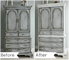 Before and After - annie sloan chalk paint redo www.thelilypadcottage.com