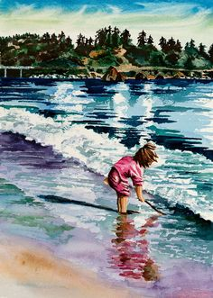 Little Girl in Pink Watercolor Painting by MaureensWatercolors  beach art......I absolutely love this!!!