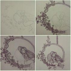 Detalhes, tendo paciência =] #angel #girl #asas #flores #paz #draw #drawning #illustration #desenho #desenhododia #ilustraçao #balanço #cordas