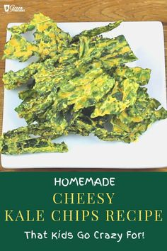 These cheesy kale chips are so good you won't be able to stop eating them. And that's OK because you're getting a crazy amount of nutrient from these tasty snacks. Kale Chip Recipes, Blender Recipes, Raw Vegan Recipes, Spinach Recipes, Healthy Crockpot Recipes, Beef Recipes, Whole Food Recipes, Vegetarian Recipes, Zoodle Recipes